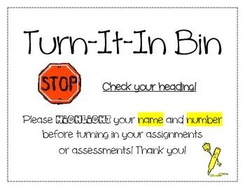 Turn-It-In Bin Poster