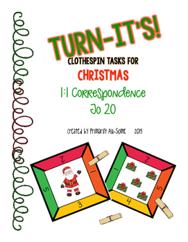 Turn-It's: Christmas Themed Clothespin Task for 1:1 Corres