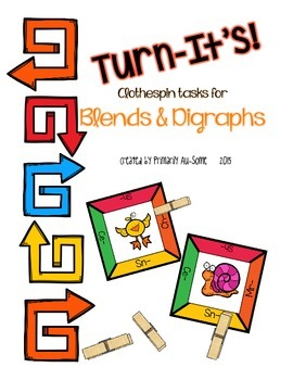 Turn-It's: Clothespin Task Cards for Blends & Digraphs