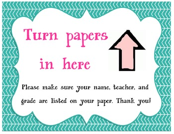 Turn Papers In Here Sign - Library Media Center
