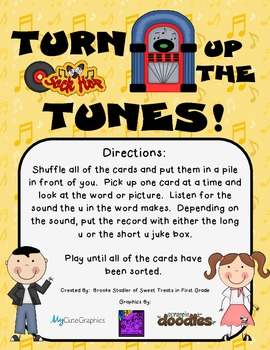 Turn Up the Tunes - A Long and Short U (u_e) Picture Sort Game