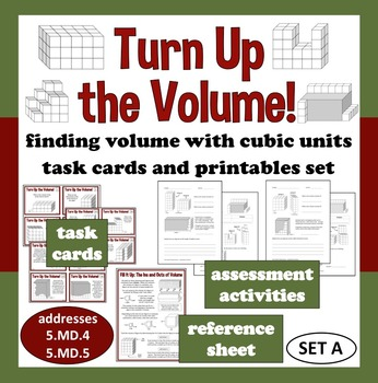 Turn Up the Volume - finding volume with cubes task cards + printables (set a)