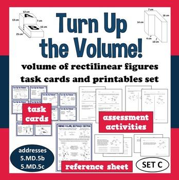 Turn Up the Volume - volume of irregular prisms task cards + printables (set c)