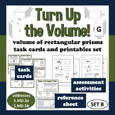 Turn Up the Volume - volume of rectangular prisms task cards/printables (set b)