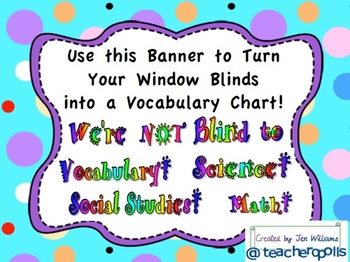 Turn Your Window Blinds into a Vocabulary and I Can Statement Chart