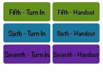 Turn-in Bin Labels, Second Period Prep