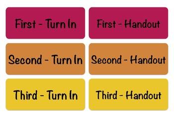 Turn-in Bin Labels, Fourth Period Prep