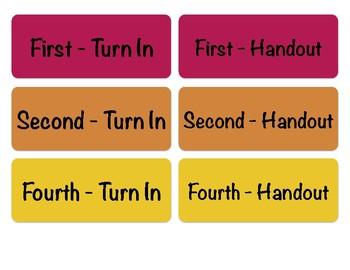 Turn-in Bin Labels, Third Period Prep