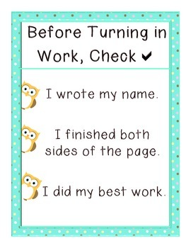 Turn in Your Paper:  Owl Themed Double Check Reminder Poster