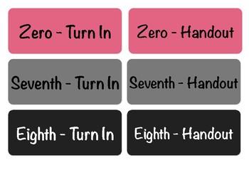 Turn-in Bin Labels, All