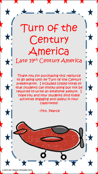 Turn of the Century America Closed Notes and Activities