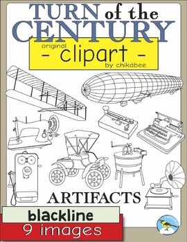 Turn of the Century Artifacts Clip Art (BLACKLINE ONLY)