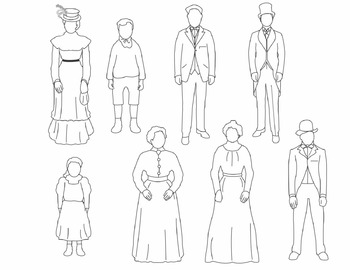 Turn of the Century People Clip Art (BLACKLINE ONLY)