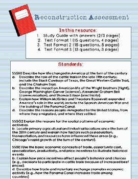 Turn of the Century Test and Study Guide