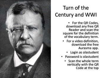 Turn of the Century Vocabulary Cards with QR Code Definitions