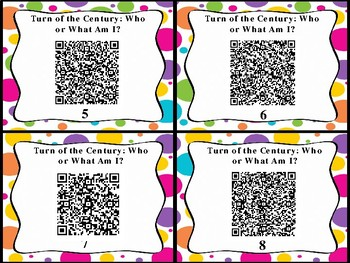 Turn of the Century Who or What Am I QR Code Cards (GMAS:  SS5H1)