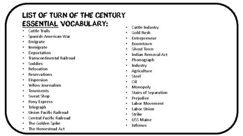 Turn of the Century Word Wall Cards and Vocabulary