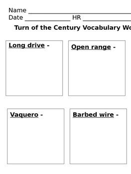 Turn of the The Century Vocabulary Activity