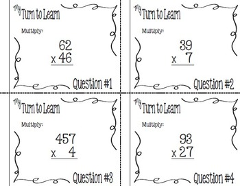 My Turn to Learn Task Cards: Multiple Digit Multiplication with QR Codes