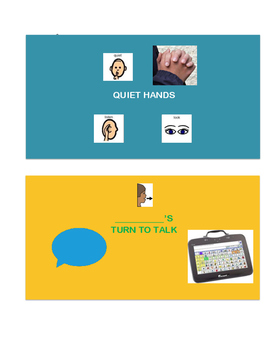 Turn to Talk / Quiet Hands Visual - AAC Visual Aide with Protocol