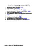 FREE Turn to Ten Professional Organizations in English/ELA