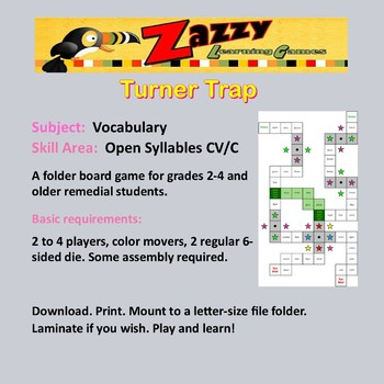 Turner Trap Folder Game Vocabulary Open Syllables CV/C