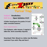 Turner Trap Folder Game Vocabulary Open Syllables C/VC