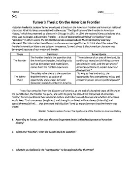 Turner's Thesis Regents Level Manifest Destiny