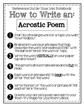 Turning Poetry into Poet-try: Lesson #1- Acrostic Poems