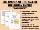 Turning Point - The Fall of Rome worksheet - Global/World History Common Core