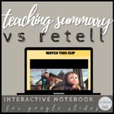 Retell vs Summary Student Interactive Notebook (Digital)