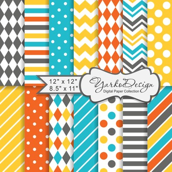 Turqoise Yellow Orange and Gray Geometric Digital Paper Set, 14 Digital Papers