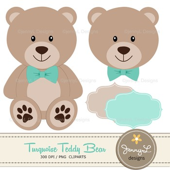 SET: Turquoise Teddy Bear Digital papers, Teddy Bear clipart