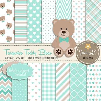 SET: Turquoise Teddy Bear Digital papers, Teddy Bear clipart