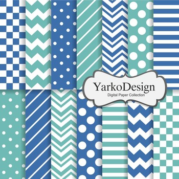 Turquoise And Navy Basic Geometric Digital Paper Set, 14 Digital Paper Sheets