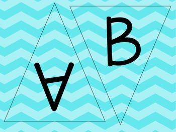 Turquoise, Aqua, Blue Chevron Letters - Chevron Pennants - Chevron Word Wall