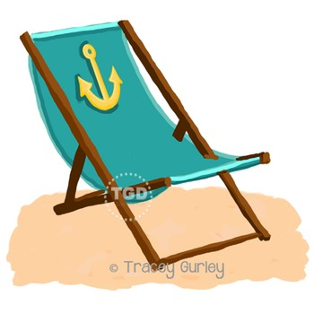 Turquoise Beach Chair with Anchor with and without Sand Printable Tracey Gurley