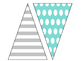 Turquoise, Black, & Grey Pennant Banner!