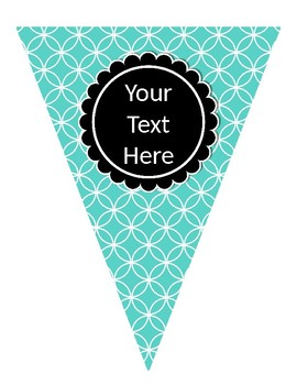 Turquoise, Black, and Gray Editable Banners for Classroom Decor