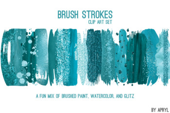 Turquoise Blue Brush Stroke Paint Glitter Foil Watercolor 20 PNG Clipart 12in S6