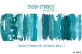 Turquoise Blue Brush Stroke Paint Glitter Foil Watercolor