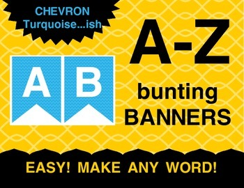 Turquoise / Blue Chevron Pennants Bunting Banner A-Z Alphabet Letters