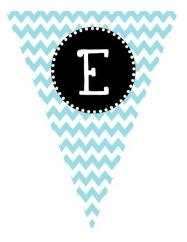 """Turquoise Blue Chevron """"Welcome"""" Pennant Banner"""