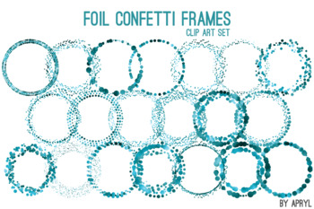 Turquoise Blue Confetti Round Frames 20 PNG Clip Art 8in Foil Metallic S6