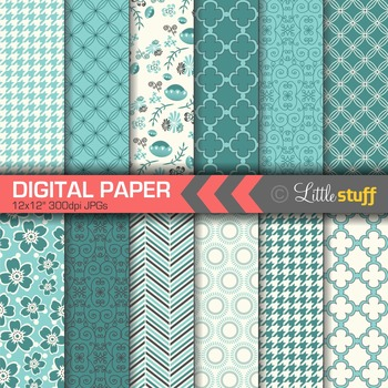 Turquoise Blue Digital Paper, Pretty and Delicate Patterns Paper Pack
