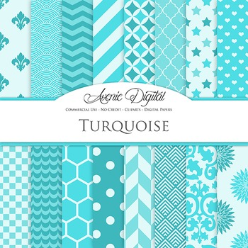 Turquoise Blue Digital Paper patterns - backgrounds