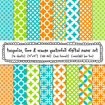Turquoise Blue, Lime Green and Orange Quatrefoil Digital Paper Set