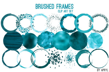 Turquoise Brushed Round Frames Paint Glitter Watercolor 20 PNG Clip Art 8in S6