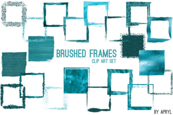 Turquoise Brushed Square Frames Paint Glitter Watercolor 20 PNG Clip Art 8in S6