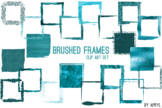 Turquoise Brushed Square Frames Paint Glitter Watercolor 2